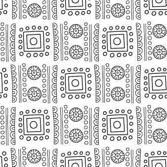 アステカのシームレスなパターン。洋服、アクセサリー、装飾紙、ラッピング、封筒のウェブデザインなどのファブリックデザインに使用できます。ファイルに含まれるシームレスパターンの見本。