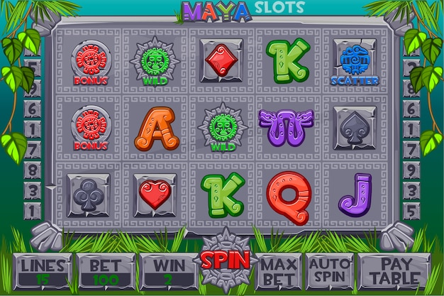 Aztec slots stone icons. complete menu of graphical user interface and full set of buttons for classic casino games creation. interface slot machine in maya style. game casino, slot, ui.
