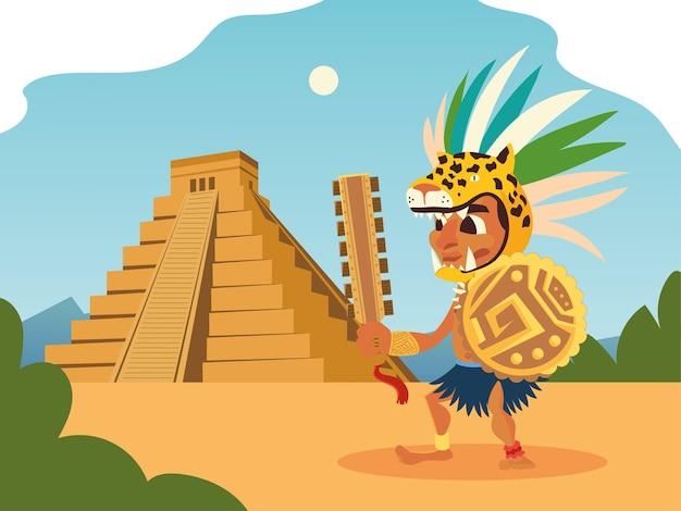アステカの戦士の虎のヘッドギアの盾とピラミッドの風景イラスト