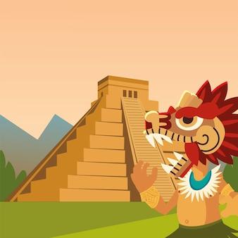 アステカの戦士の伝統的な古代のヘビのピラミッド文化のイラスト