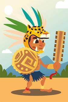 Aztec warrior in traditional weapon tribal and headgear illustration