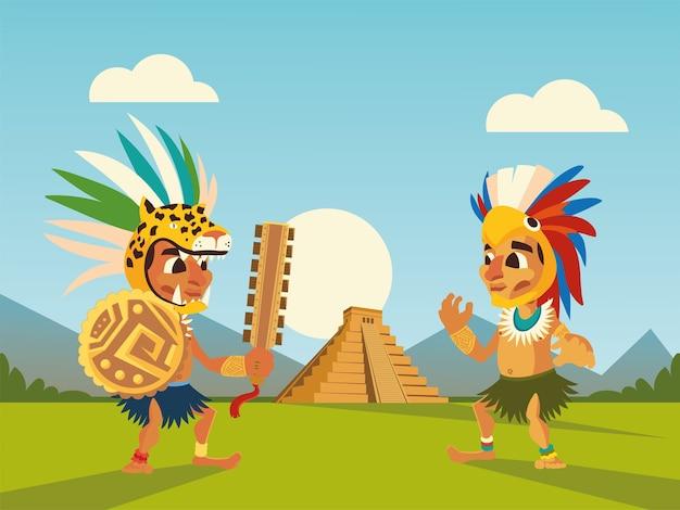 ヘッドギアシールドピラミッド風景イラストのアステカの戦士
