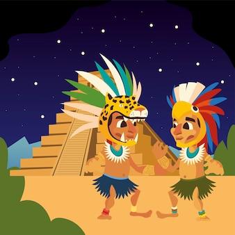 羽飾りの頭飾りとピラミッドの夜のシーンのイラストとアステカの戦士