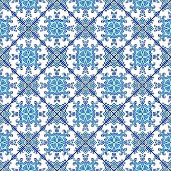 ポルトガル語azulejoタイル。青と白の豪華なシームレスなpatte