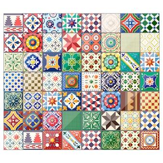 Красивый красочный фон плитки azulejo