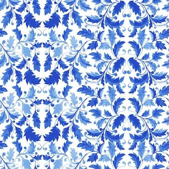 Традиционная португальская плитка azulejo бесшовные модели
