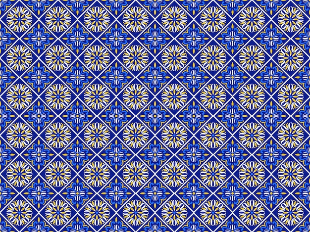 Azulejos portuguese tile floor pattern, lisbon seamless indigo blue tiles, vintage geometric ceramic, spanish vector background. moroccan geometrical interior patchwork. azulejo moroccan wallpaper