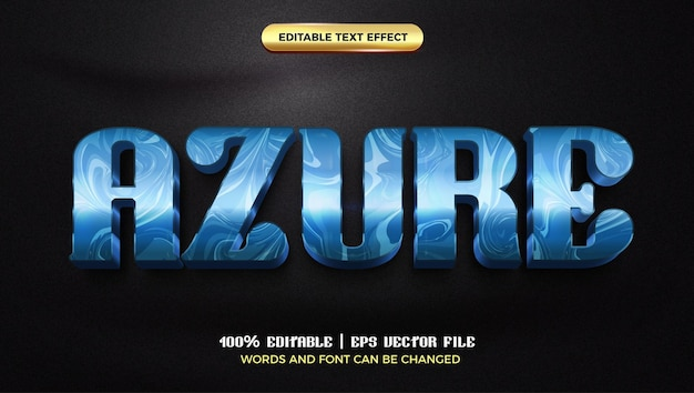 Azure marble glossy luxury 3d editable text effect style template