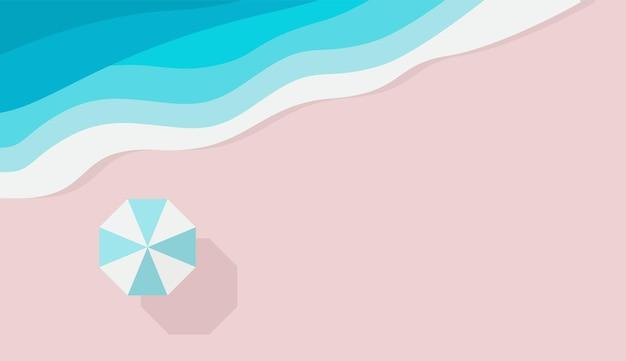 Azure sandy beach piece of sea or ocean and beach umbrella top view summer holiday background design