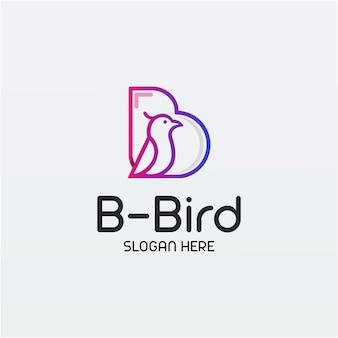 B for bird line art logo design