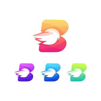 B burn letter logo power