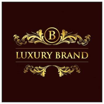 Bビジネスロゴ。新しい創造的なゴールデンフローラルデザイン。クリエイティブスタイル。ビジネス目的。茶色の背景。