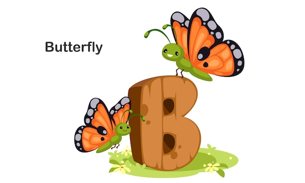 B for butterfly