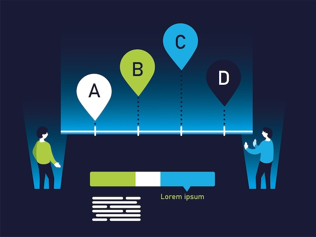 A b c d chart infographic and men design, data information and analytics theme illustration