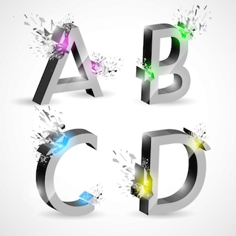 A b c d, metal letters with explosions