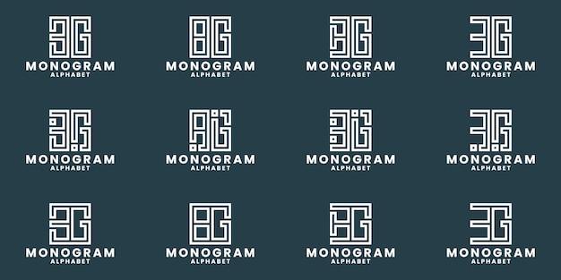 B g logo design bundle monogram alphabet