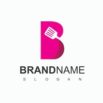B первоначальный логотип с символом шпателя для завтрака, значка ресторана и кафе