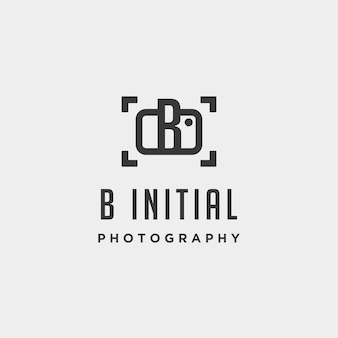 B initial photography logo template vector design icon element