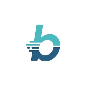 B letter dash lowercase tech digital fast quick delivery movement blue logo vector icon illustration