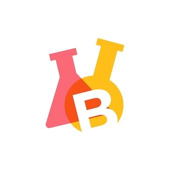B letter lab laboratory glassware beaker logo vector icon illustration
