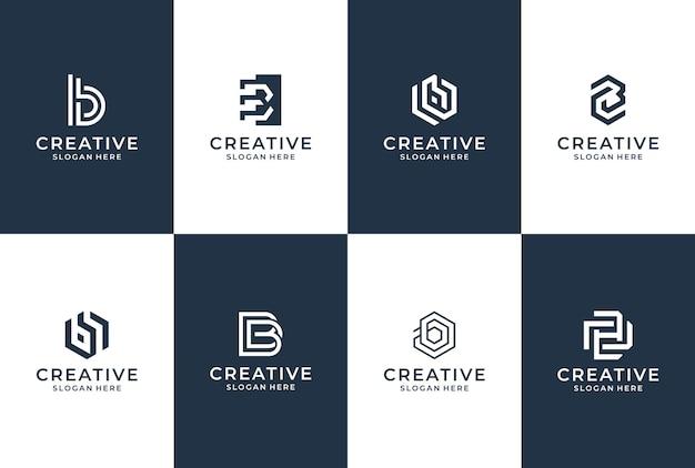 B 문자 로고 컬렉션입니다. 레터링 비즈니스 영감 세트입니다.
