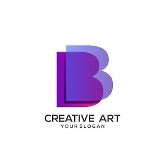B письмо логотип красочный градиент дизайн