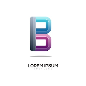 B letter logo initials colorful gradient abstract