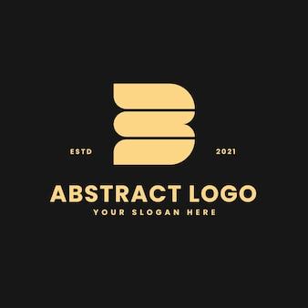 B letter luxurious gold geometric block concept logo vector icon illustration
