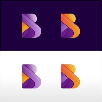 B letter modern logo colorful