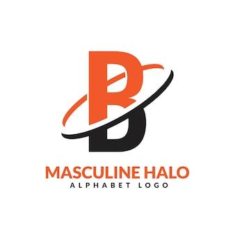 B文字オレンジと黒の男性的な幾何学的なリングのロゴベクトルアイコンイラスト