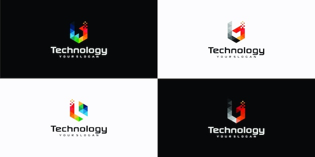 B letter pixel triangle geometric logo inspirations