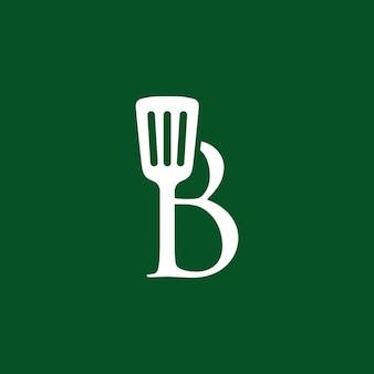 B letter spatula kitchen restaurant chef logo vector icon illustration