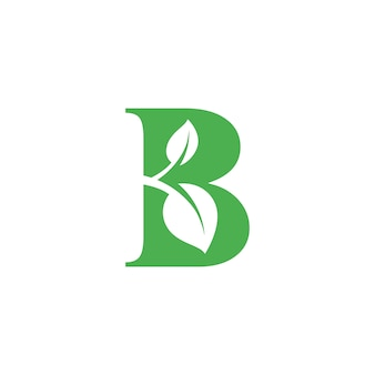 B letter with leaf in negative space