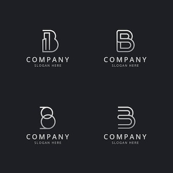 Инициалы b line с монограммой логотипа в стиле серебристого цвета для компании