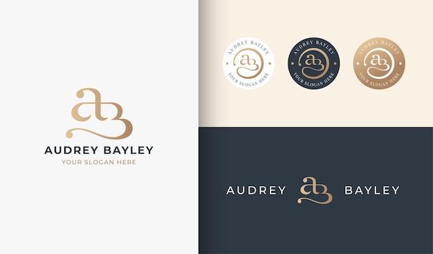 A b monogram serif letter logo design