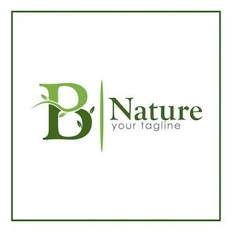 B nature logo template, stock logo template.