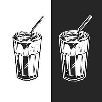 暗い背景でb&wの冷たい飲み物