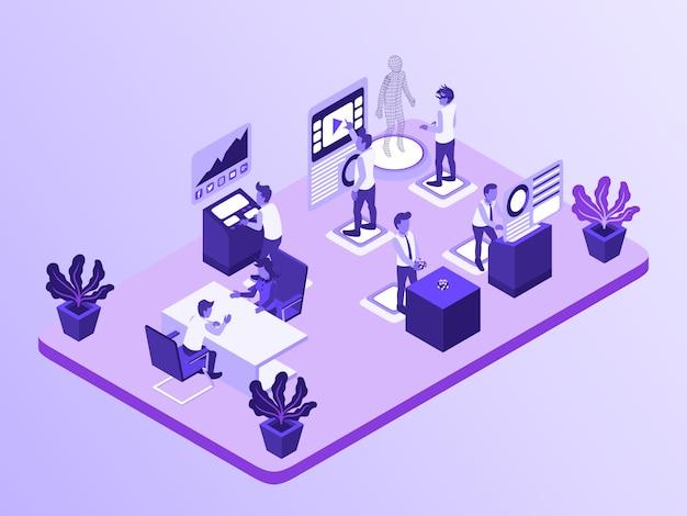 Бизнес-активность b2b, где работник работает с виртуальной реальностью и увеличением