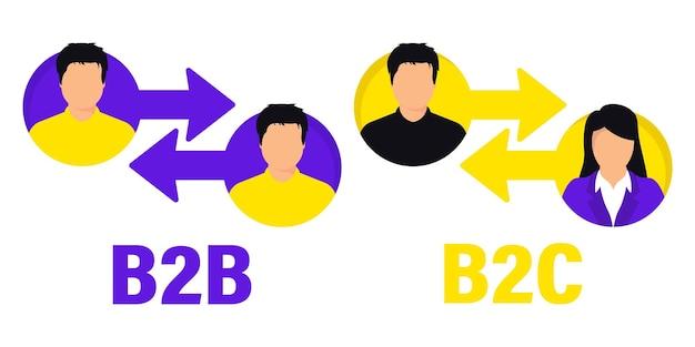 B2b и b2c плоский вектор значок. успешные бизнес-продажи и бизнес-маркетинг для клиентов. концепция успешного сотрудничества и партнерства. b2b, b2c метод продаж