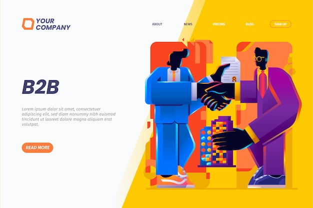 B2b. business to business and partnership landing page illustration