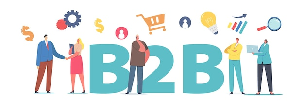 B2b, b2b 파트너십 협업 개념. 악수하는 비즈니스 캐릭터, 회사 협력, 서비스 포스터, 배너 또는 전단지 거래. 만화 사람들 벡터 일러스트 레이 션