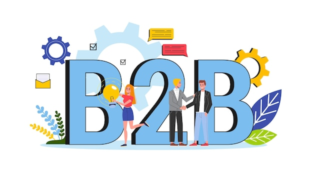 B2b concept. business to business way of communication