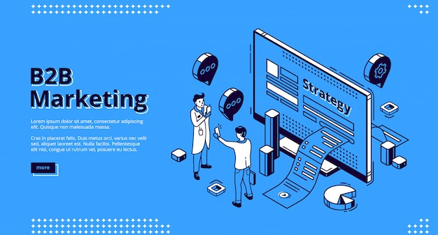 B2b marketing strategy isometric  web banner