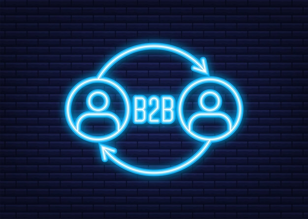 B2b sales person selling products. neon icon. business-to-business sales, b2b sales method. vector illustration.