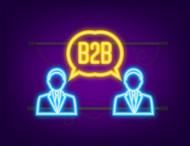 B2b sales person selling products neon icon businesstobusiness sales b2b sales method