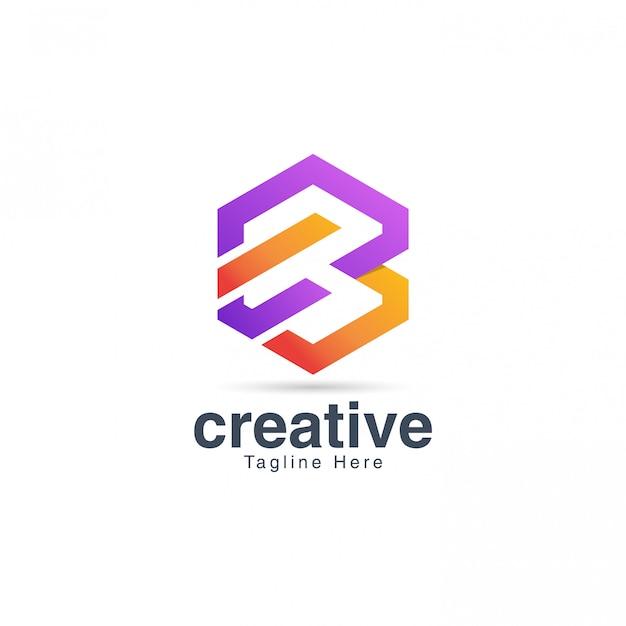 Яркий творческий буква b шаблон дизайна логотипа