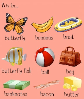 アルファベットbの異なる単語