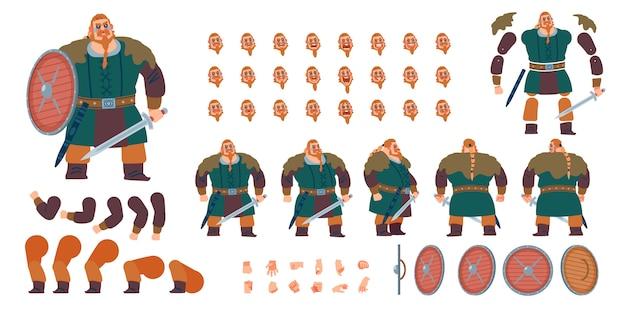 正面、側面、背面のアニメーションキャラクター。戦士バイキング、さまざまなビュー、顔の感情、ポーズ、ジェスチャーを備えた野b人キャラクター作成セット。