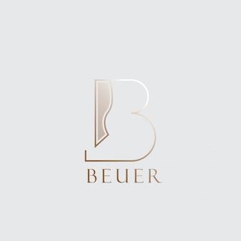 Буквенный логотип b с золотым цветом