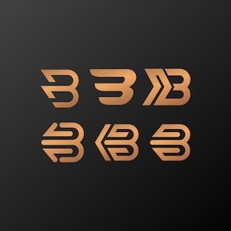 B логотип золото